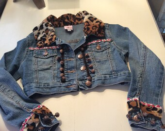Girls Bluejean Jacket with Leopard and Flowers