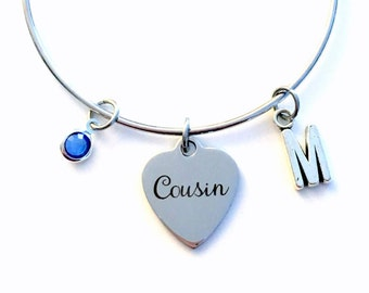 Gift for Cousin Charm Bracelet, Cousin Jewelry Best Friend Bangle Pendant initial Birthstone Birthday Present Long Distance BFF women Woman