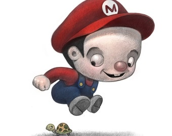 """11X14"""" Baby Mario of Mario Brothers  Color Print, Signed by the artist, Will Terry"""