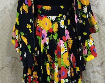 Vintage 1970s Floral Print Dress With Matching Shawl, 2 Piece Dress and Shawl from Carlette