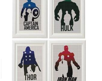 BOGO FREE! set of 4 Avengers cross stitch pattern/avengers cross chart/avengers xstitch/marvel cross stitch/superhero cross stitch/#03-001