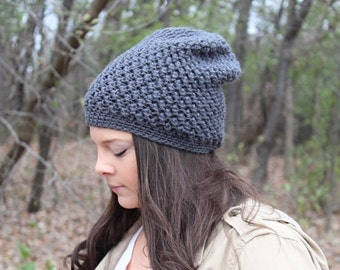 Grey Beanie, Grey Slouchy Hat, Grey Hat, Grey Winter Hat, Grey Crochet Hat, Grey Knit Hat, Gray Hat, Charcoal Hat, THE EMORY