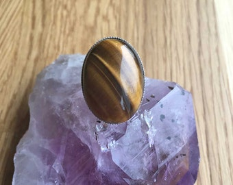 Tigers Eye Ring Large Tigers Eye Ring Adjustable Ring Tigers Eye Jewellery Statement Ring Gift For Her Womens Ring Womens Jewellery SPR12
