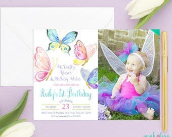 Butterfly Invitation, Butterfly Birthday, Butterfly Party, Birthday Invitation, Butterfly Invite, 1st Birthday Printable, Butterflies, Photo