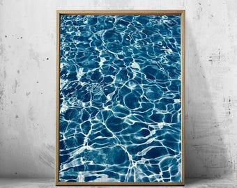 Water Print Ocean Wall art Blue Poster Minimalist art Scandinavian art Printable Download Beach Decor Tropical Waves Sea Turquoise Water