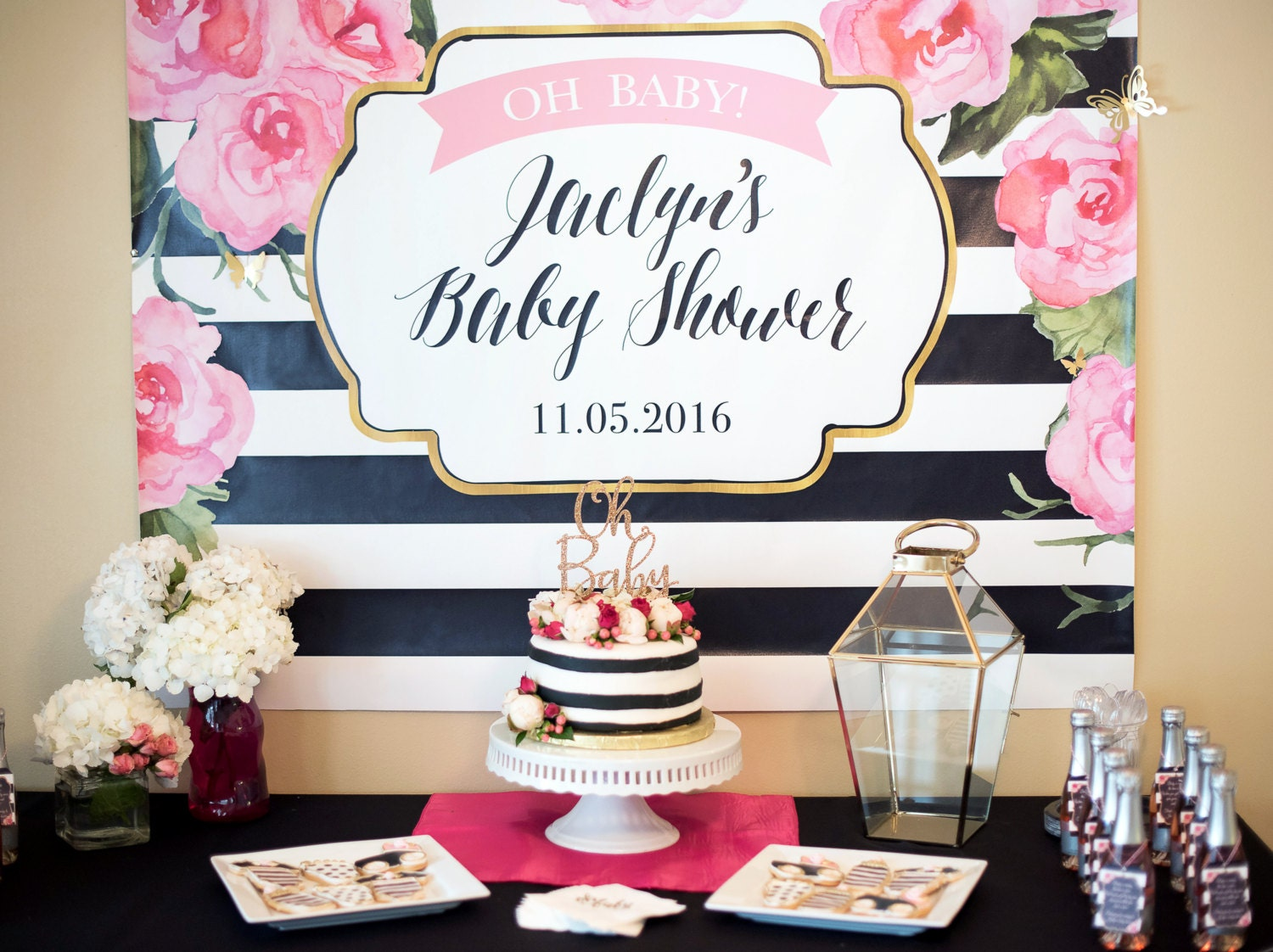 striped party backdrop sign shower decor baby shower or other