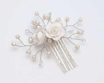 Bridal Flower Hair Comb, Wedding Hair Accessory, Floral Comb, Bridal Hair Decor, Freshwater Pearls, Czech Crystals, Polymer Clay