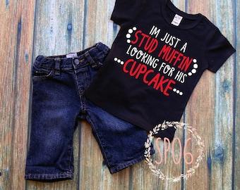 stud muffin,cupcake,toddler boy valentines day shirt,valentines day shirt,boy shirt,holiday shirt,ladies man,cute toddler shirt,ladies man