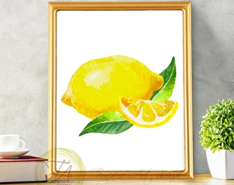 Lemon Print, Lemon Decor, Lemon Wall Art, Kitchen Print, Lemon Art Decor, Food Print, Food Decor, Kitchen Fruit Art, Lemon Decor Printable