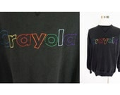 Vintage 90's Crayola rainbow spell out logo black pullover crewneck sweatshirt jumper