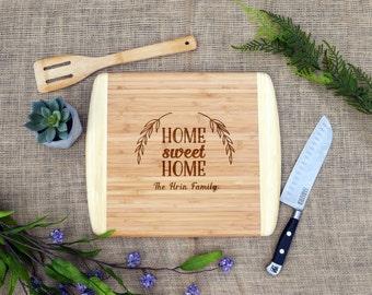 Home Sweet Home Cutting Board w/ Last Name, Personalized Cutting Board, Custom, Cheese Board, Housewarming, Real estate, Realtor, Closing
