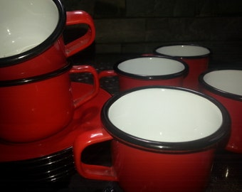 Vintage Set of 6 Enamel cups and saucers Enamelware Made in Hong Kong. PRICE REDUCED