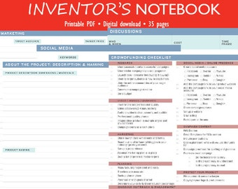 Inventor's Notebook | Product Developer Notebook | Log | Invention Log | Idea Notes | Crowdfunding Checklist | Instant Download