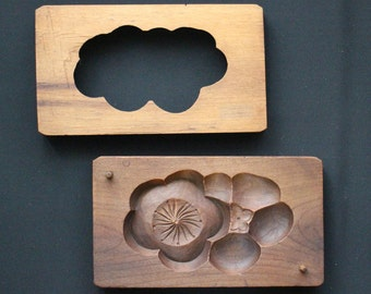 Kashigata Vintage Japanese Carved Sweets Mold, Wooden Mold w/ Plum Blossom, Collectible Wooden Carving, Kitchen Home Decor, Free Shipping