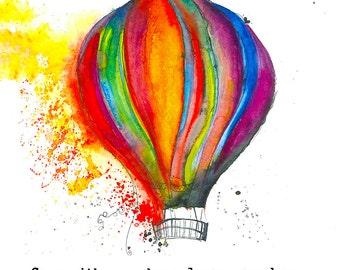 Hot Air Balloon Wood Print, Hot Air Balloon Wall Art, Balloon Painting, Wood Art, Wood Art Print, Wood Wall Art, Natural Wood Print,