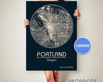 PORTLAND Oregon CANVAS Map Portland Oregon Poster City Map Portland Oregon Art Print Portland Oregon