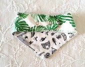 James - Green monstera leaf, black and white camping themed reversible dog bandana, double snap