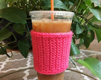 Crochet Coffee Sleeve in Hot Pink - Crochet Coffee Cozy - Coffee Cozy - Coffee Gift - Coffee Cup Cozy - Reusable Coffee Sleeve
