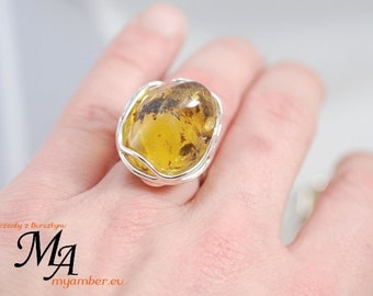 AMBER Stone Ring Adjustable Silver 925 +Certificate *11725  natural
