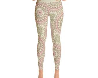 Floral Leggings - Rose Pink and Olive Green Printed Leggings, Kaleidoscopic Pink Mandala Pattern Bohemian Leggings
