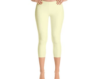 Capris Cream Leggings, Womens Yoga Clothes, Yoga Leggings, Workout Yoga Pants