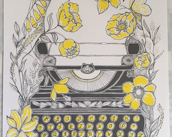 Floral Vintage Typewriter limited Edition Silk Screen Print (A3)