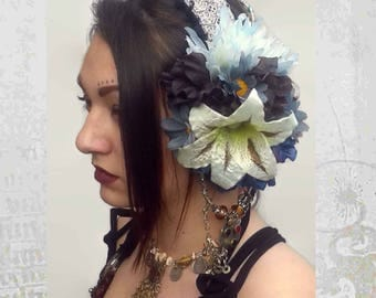 Tribal Fusion Headdress, Flowers Tribal Dance Headdress, ATS Headdress, Silver Headdress, Tribal Fusion headpiece,  with blue silk flowers