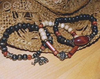 Logs and antique brass bracelets