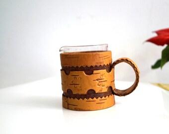 Vintage Swedish Birch Bark Cup Hand Made Natural Birch Bark Cup Organic Mug Scandinavian folk art Round wooden cup with handle Rustic decor
