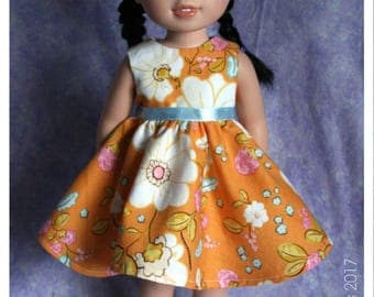 14.5 Inch Doll Clothes Handmade Floral Spring Dress