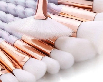 10 Piece White Unicorn Brush Set