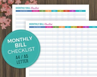 Monthly Bill Checklist, Finance Checklist, Bill Payments Checklist, Bill Tracker, Personal Finance Organizer, A4, A5, Letter Size, pdf