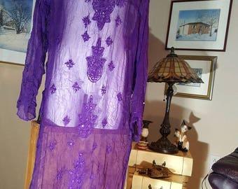 Transparent  tunic ,seethrough dress,embroidered beaded beach cover up ,purple Indian tunic,70s hippie shirt,boho fashion,long shirt(3)