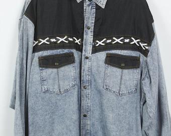 Vintage jeans shirt 90s - denim - long sleeves - oversized
