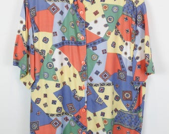Vintage shirt, 80s clothing, shirt 80s, abstract print, long sleeves, oversized