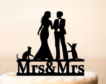 Lesbian wedding cake topper with two cats,wedding cake topper with pets,Lesbian+cats,cats,Cake topper with lesbian silhouette (0186)