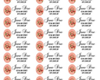 Rose and Calligraphy Address Labels-Rose and Calligraphy Return Address Labels-Pink Roses Address Labels-Pink Roses and Calligraphy Labels