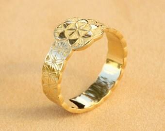 Gold Flower of Life Ring, Gold Boho Ring, Boho Jewelry, Boho Wedding Band,Boho Wedding Ring,Flower Pattern Ring,New Age Ring,New Age Wedding