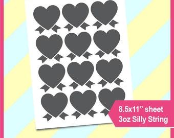 """Heart award ribbon, heart ribbon, template PSD, PNG Formats,  8.5x11"""" sheet,  Printable 093"""