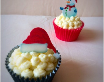 Santa Hat Cake Toppers, Snowmen Cake Toppers, Christmas Toppers, Edible Santa Hat, Edible Christmas Cupcake Toppers, Edible Toppers