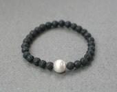 Black Lava Stone Bracelet Black Bracelet Semi precious stone Staking Bracelet Beaded Bracelet Elastic Bracelet Stretchy Lava Rock