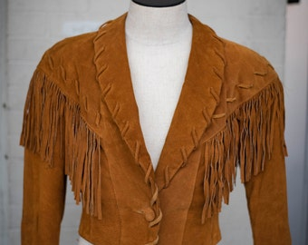 Fringe Leather Jacket from the 1980s with Fitted Waist and One Button