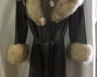 1960s Leather and Fox Fur Coat in Medium Grey, 100% Leather, Size Small