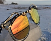 SuNSET ReFLeCTiVe ~ Gold Black Wire Wrapped Wayfarer ~  SPUNGLASSES ~ Metal Frames ~ Ooak Artisan Unisex Sunnies Sunglasses Eyewear Ooak