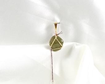 Unakite Gold Pendant Small