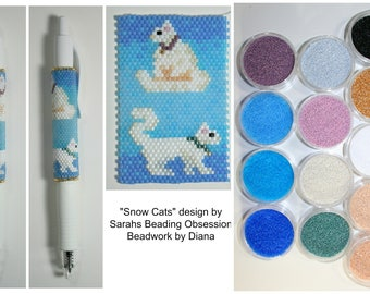 Snow Cats by Sarahs Beading Obsession beaded pen kit (pattern sold separately)