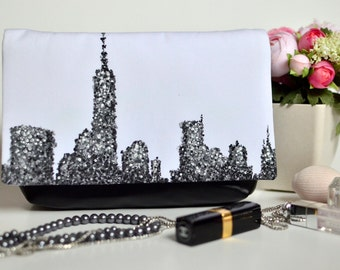 New York purse, Statement bag, Black and white clutch, Hand painted handbag, Faux leather purse, Fabric and leather clutch, Wearable art