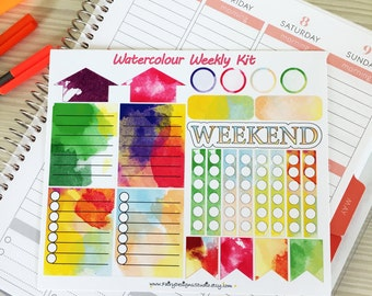 Watercolour Weekly Kit Planner Stickers
