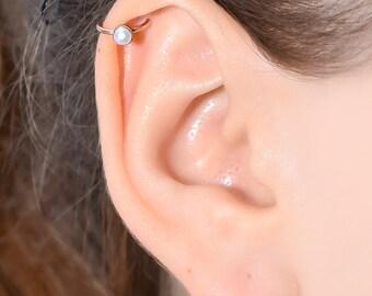 Gold HELIX CUFF 3mm Pearl / 16 gauge cartilage cuff, faux nose ring, fake tragus piercing, ear cuff, conch cuff 16g, faux piercing ring