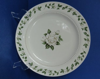 "Vintage Hall China Cameo Rose Large 10 1/4"" Dinner Plate"